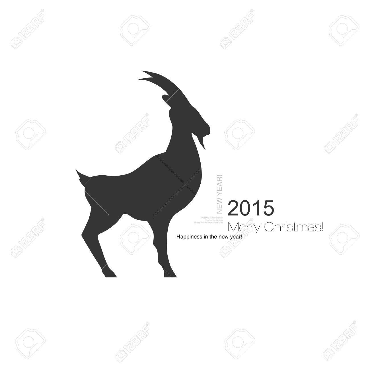 Vector Horned Goat Symbol With A Black Profile Silhouette Of A Goat