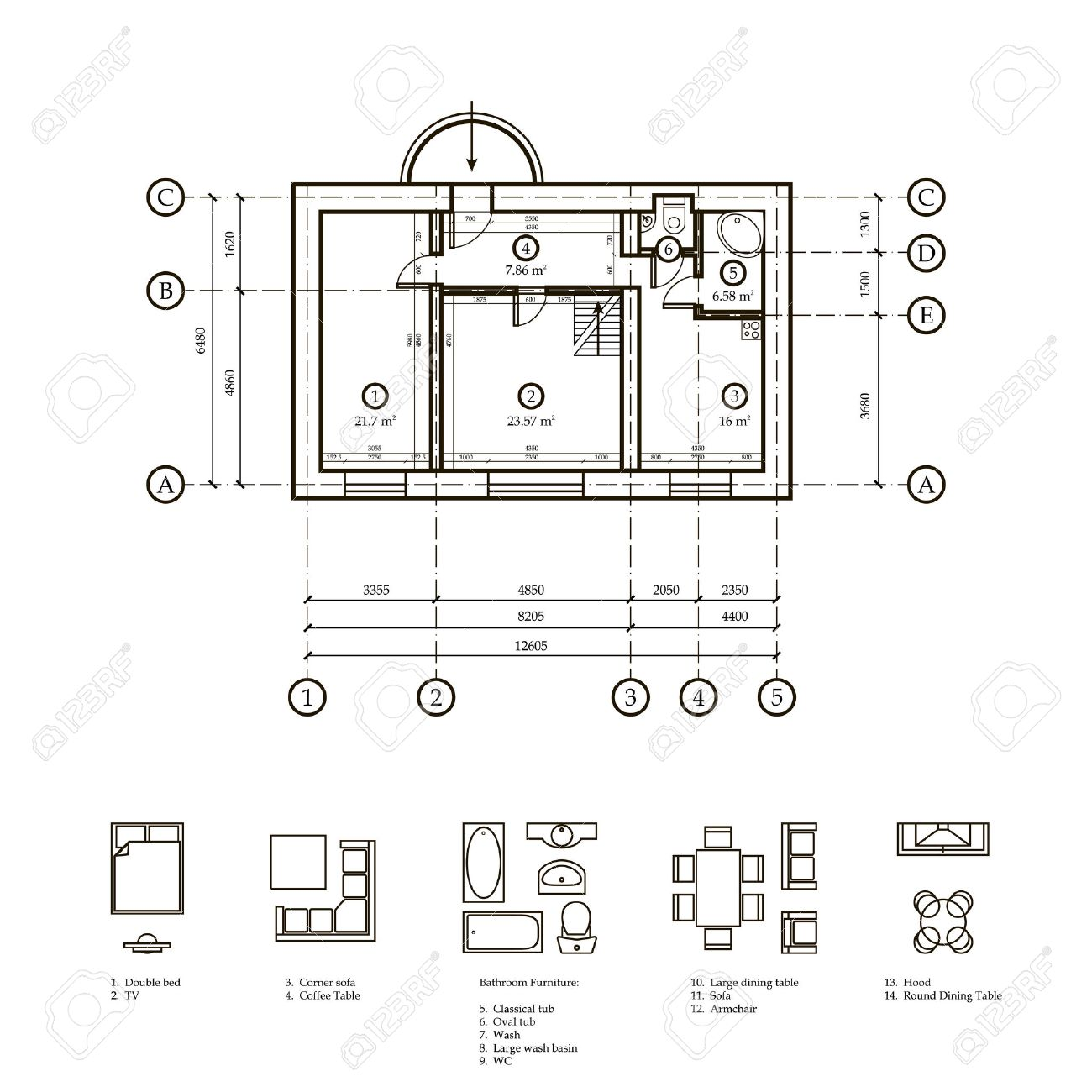 Plan Of The Apartment Drawing Plan Apartments And Drawing  # Muebles Dibujo Arquitectonico