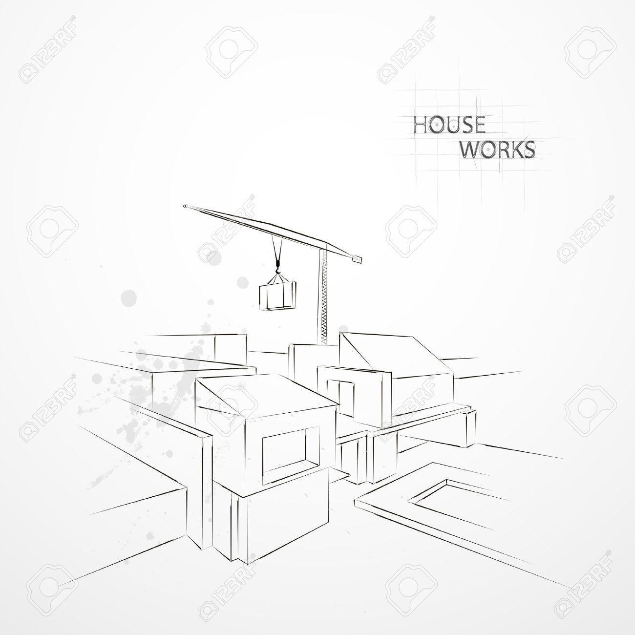 Banque Du0027images   Dessinez Dessin Construction. Dessiné à La Maison Dans La  Perspective. Grues Construit Des Maisons. Grues Construit Un Règlement.
