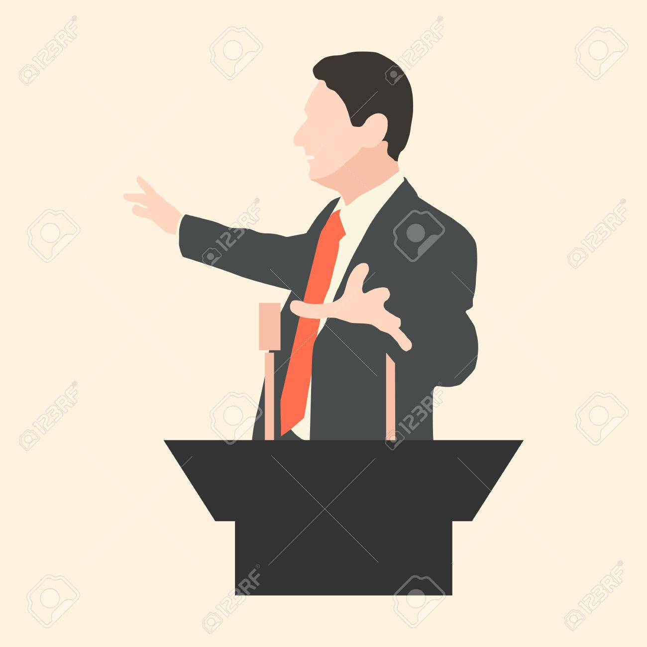 Orator speaks with broad gestures behind a podium. Speaker makes a report to the public and the press. Eloquent speech before an audience. Rhetoric. Oratory, politician, businessman. Vector. Icon. - 34124723
