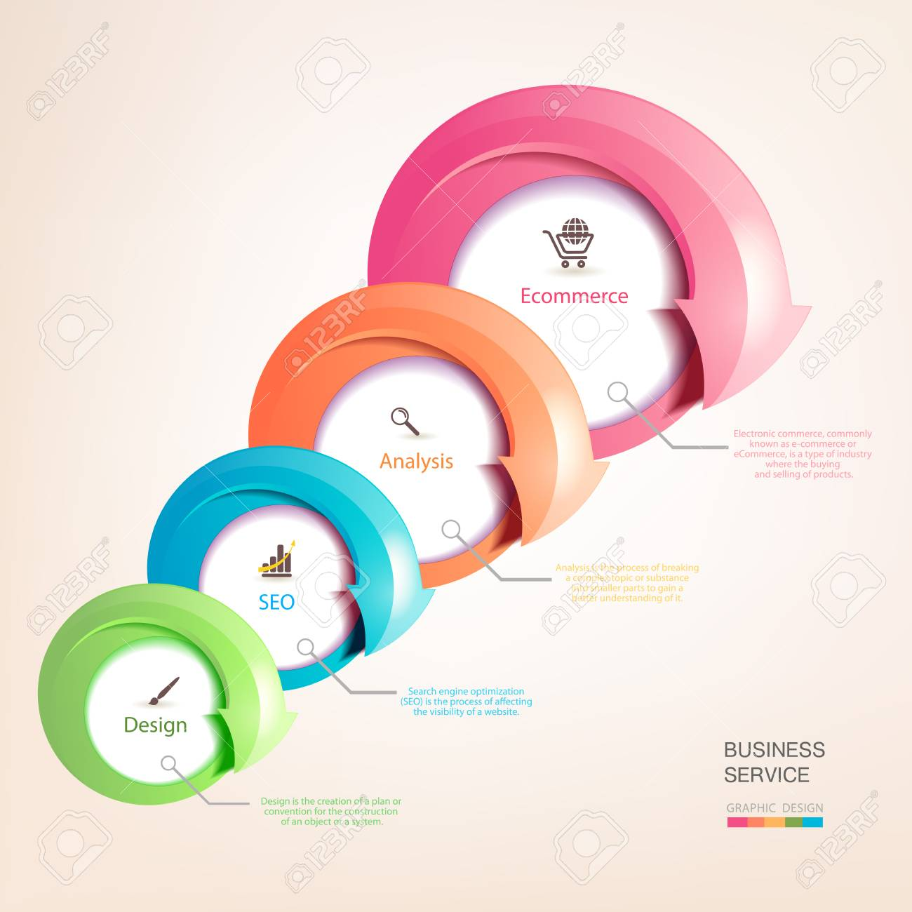 Infographics With Arrows Pointing To The Companys Services Business Development