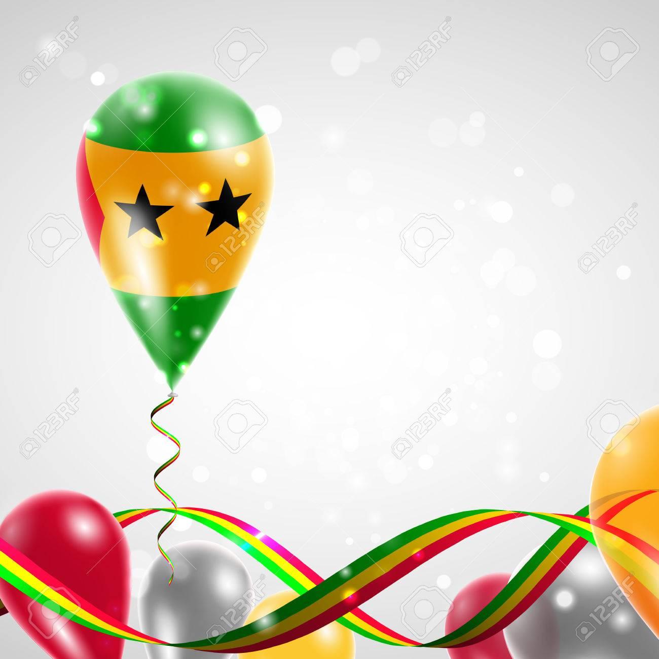 Bandera De Santo Tome Y Principe En El Globo Celebracion Y Regalos La Cinta Con Los Colores De La Bandera Se Retorcio Debajo Del Globo Dia De