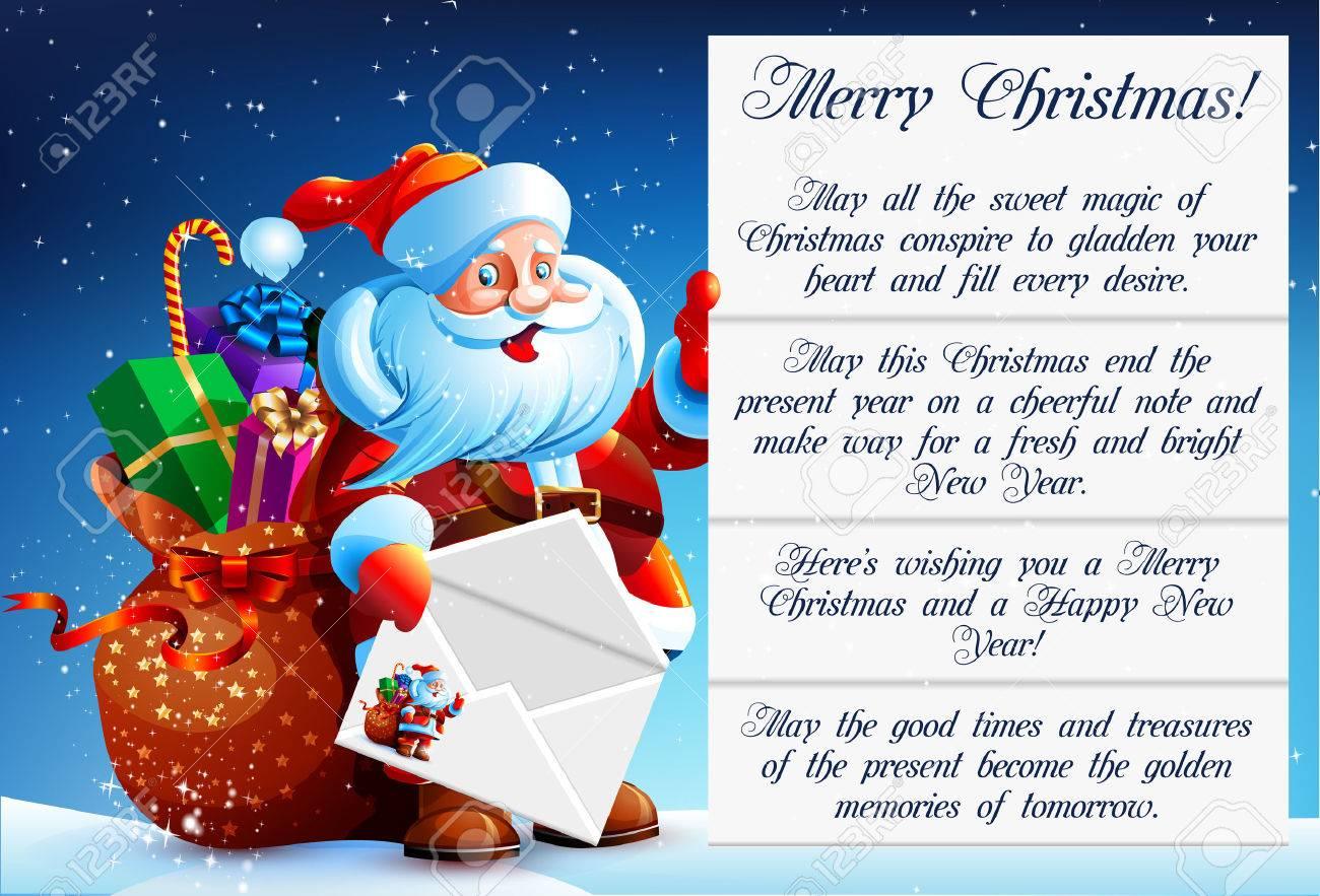 Une Lettre De Pere Noel.Pere Noel Lit Une Lettre De Felicitations Dans Ses Mains Il Tient Une Enveloppe Festive A Cote De Sac Du Pere Noel Avec Des Cadeaux Des Bonbons Et