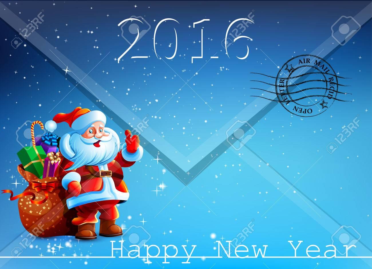 Umschlag Mit Einem Brief Mit Einem Bild Von Santa Claus. Frohes ...