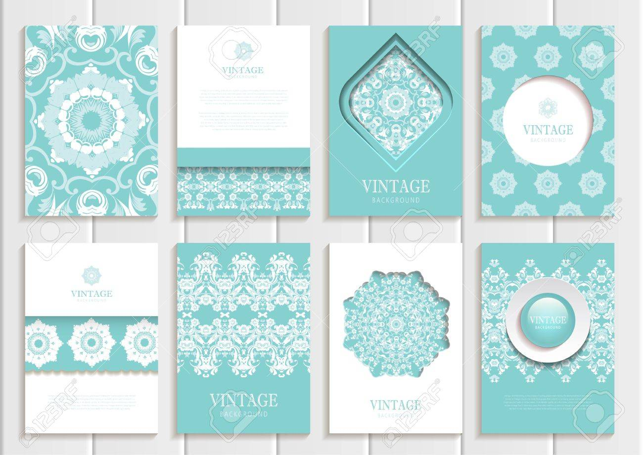 Stock Vector Set Of Brochures In Vintage Style. Design Templates ...