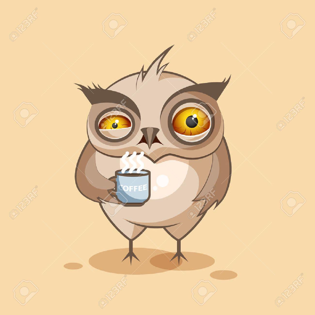 banque dimages vector illustration isol emoji dessin anim hibou nerveux avec tasse de caf autocollant moticne pour le site infographies vido - Dessin Avec Emoji