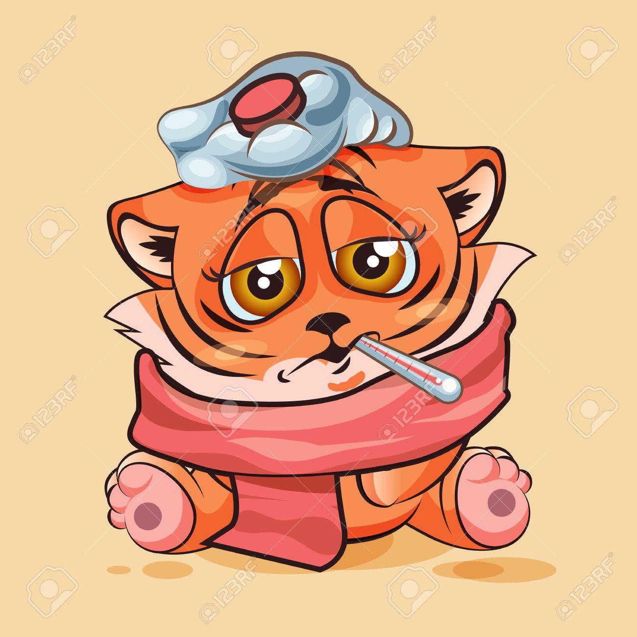 banque dimages vector illustration isol dessin anim caractre emoji tiger cub malade avec thermomtre dans la bouche autocollant moticne pour le site - Dessin Avec Emoji