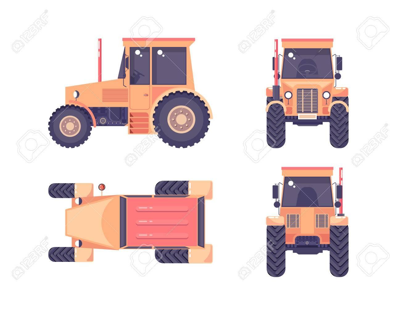 Conjunto Aislado De La Ilustración Del Vector Arriba Del Tractor ...