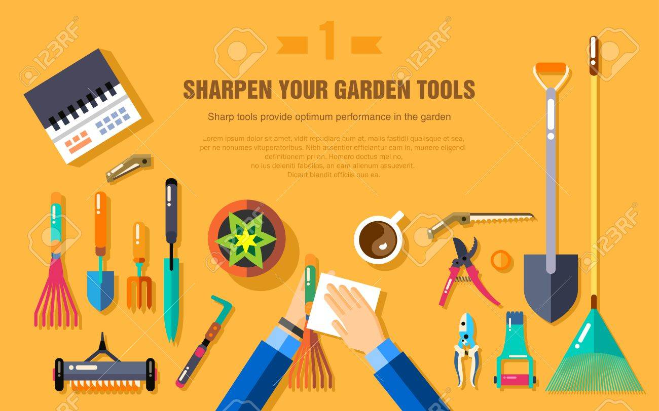 Vegetable garden graphic - Stock Vector Illustration Set Of Gardening Tools For Working In The Vegetable Garden Top View
