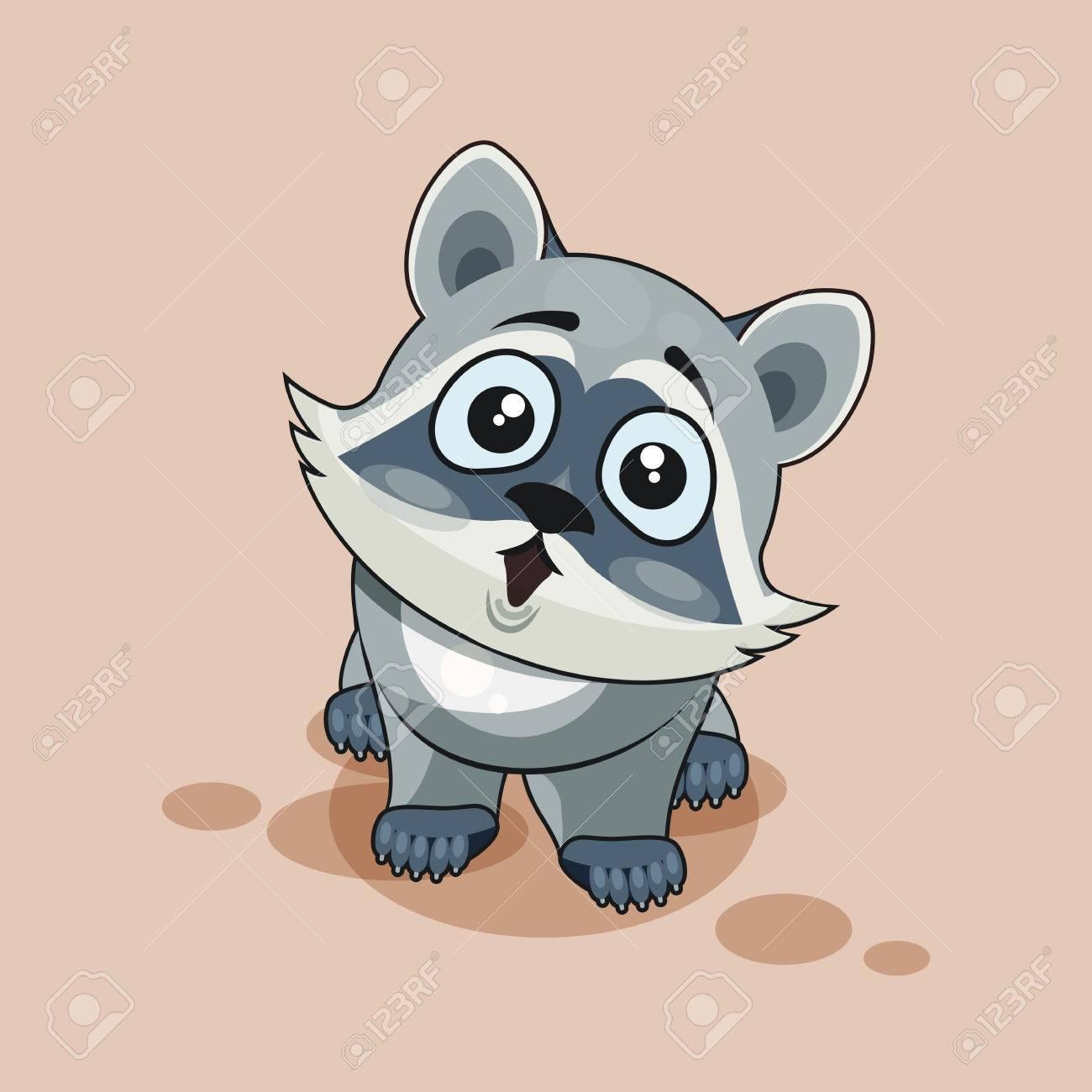 banque dimages vector illustration isol emoji dessin anim caractre raccoon cub surpris avec grande moticne yeux autocollant pour le site - Dessin Avec Emoji