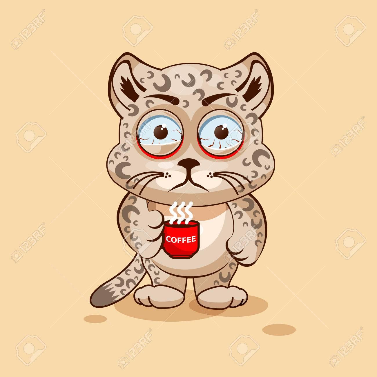 vector illustration isol emoji dessin anim caractre leopard cub nerveux avec tasse de caf autocollant moticne pour le site information graphique - Dessin Avec Emoji