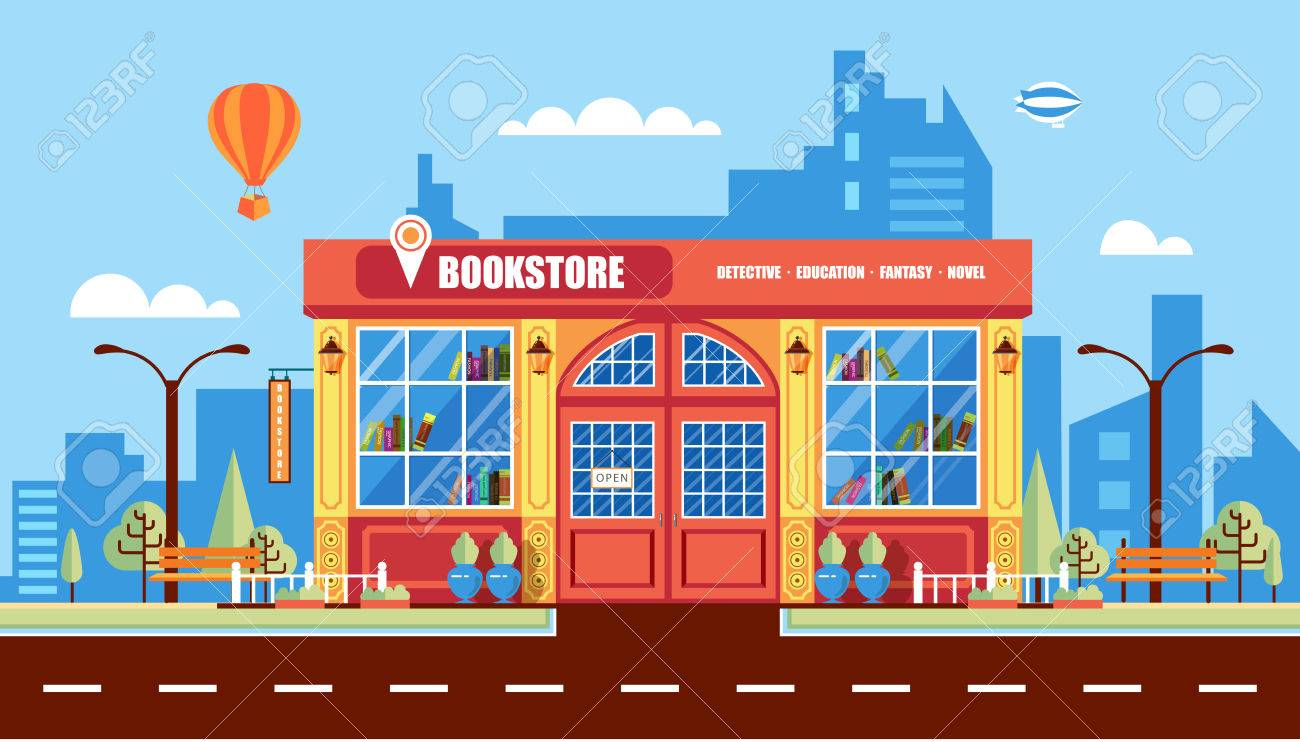 stock vector illustration city street with book shop building rh 123rf com