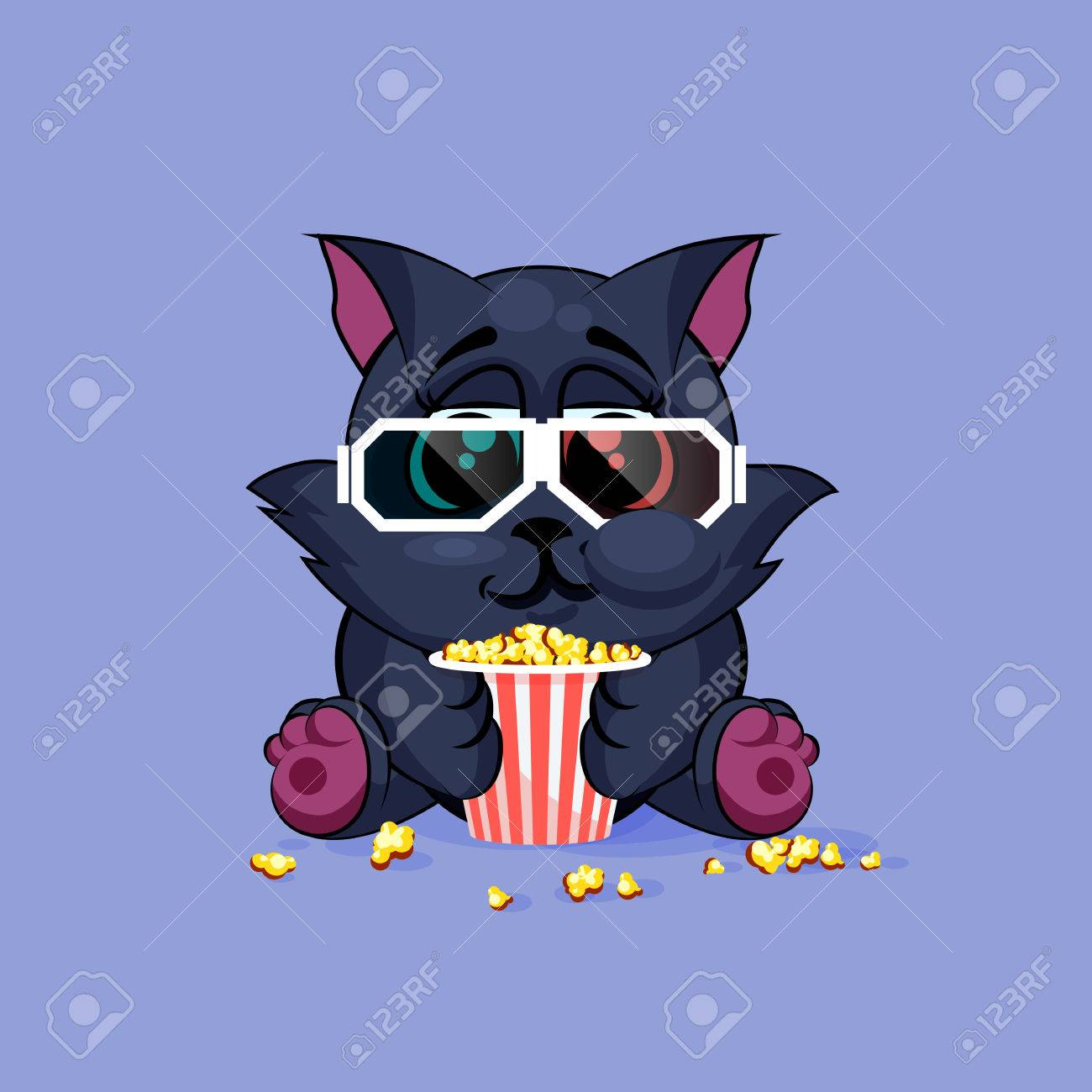 1805fdd879f0 Vector - Vector Stock Illustration Emoji character cartoon black cat  chewing popcorn, watching movie in 3D glasses sticker emoticon for site,  infographic, ...