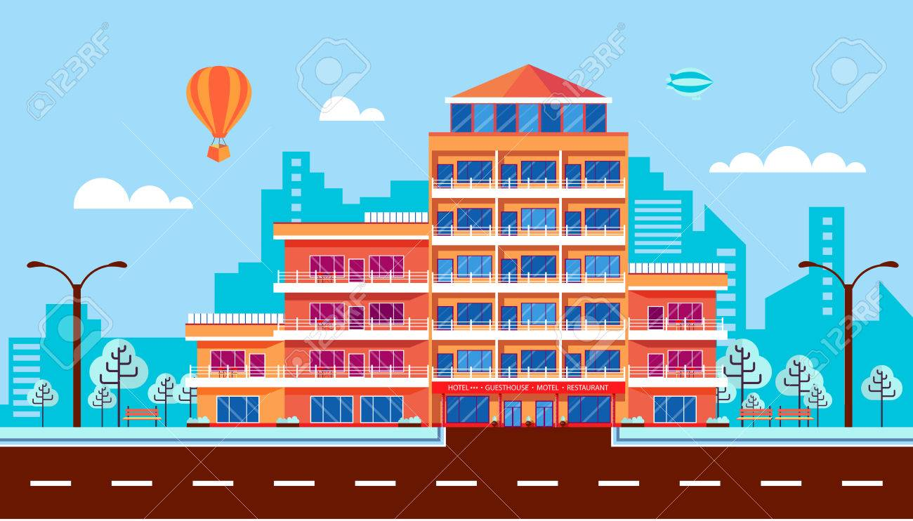 Stock Vector Illustration City Street With Hotel Apartments