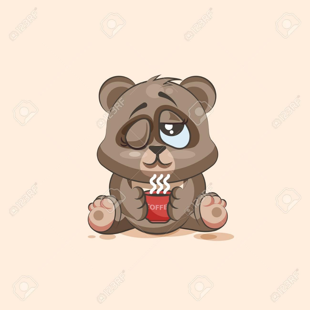 banque dimages vector illustration isol emoji dessin anim caractre ours vient de se rveiller avec tasse de caf autocollant moticne pour le site