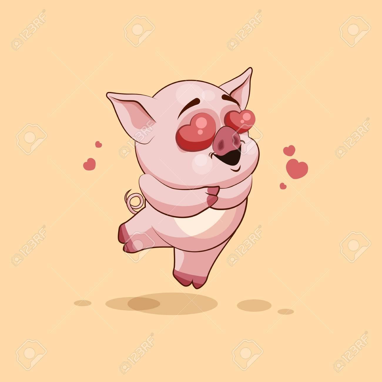 banque dimages vector illustration isol emoji dessin anim cochon dans lamour voler avec des coeurs autocollant moticne pour le site