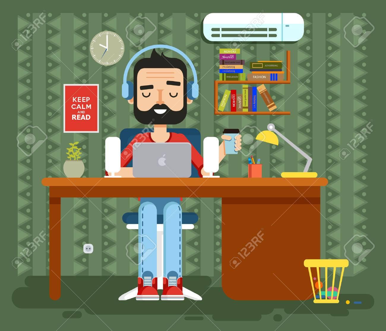 Stock Vector Illustration Of Character Programmer, Copywriter ...