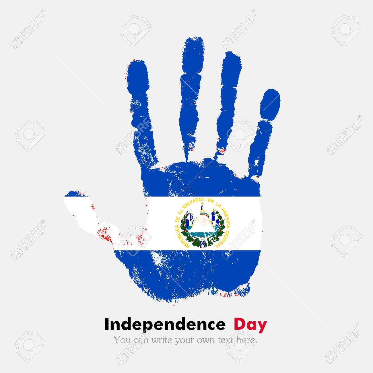 Impresión De La Mano, Que Lleva La Bandera De El Salvador. Día De La ...