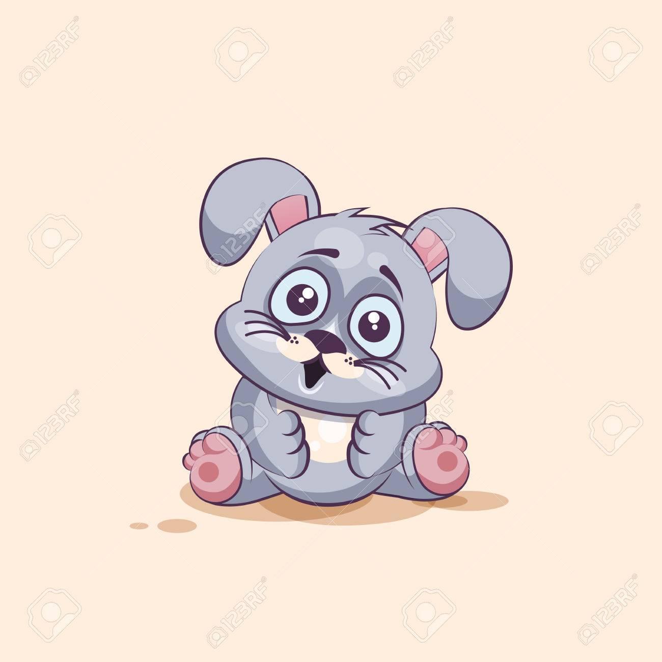 banque dimages vector illustration isol dessin anim caractre emoji gris leveret surpris avec grande moticne yeux autocollant pour le site - Dessin Avec Emoji