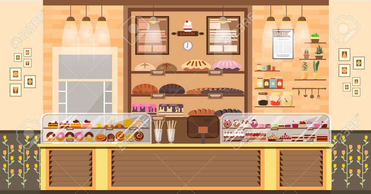 株式ベクトル イラスト インテリア焼く店 焼き菓子セール販売 パン屋 ベーカリー製品 菓子 インフォ グラフィック フラット スタイル要素にお菓子の生産のためのベーキングをベーキングのビジネスのウェブサイト のイラスト素材 ベクタ Image