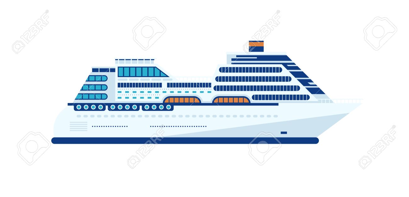 Stock Vector Illustration Of Cruise Ship Isolated Side View On White Background