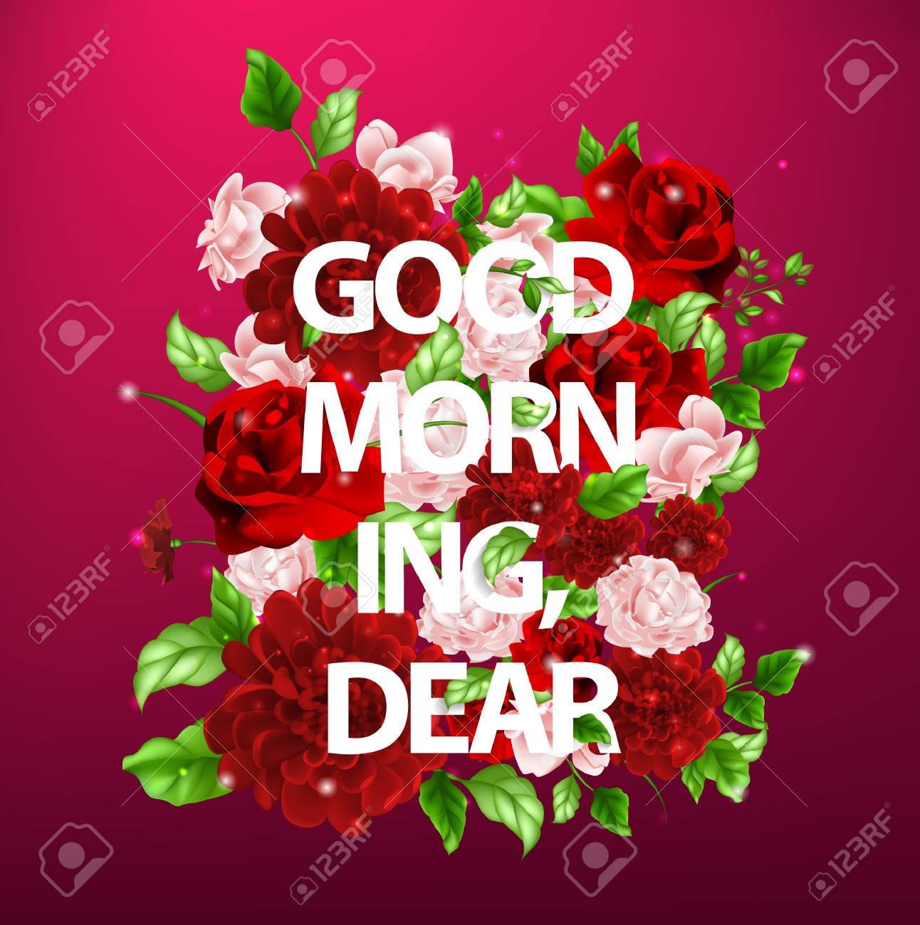 Stock Vector Illustration Of Flowers With Lettering Good Morning ...