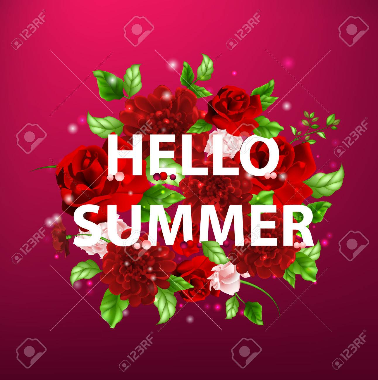 Stock Vector Illustration Of Flowers With Lettering Hello Summer