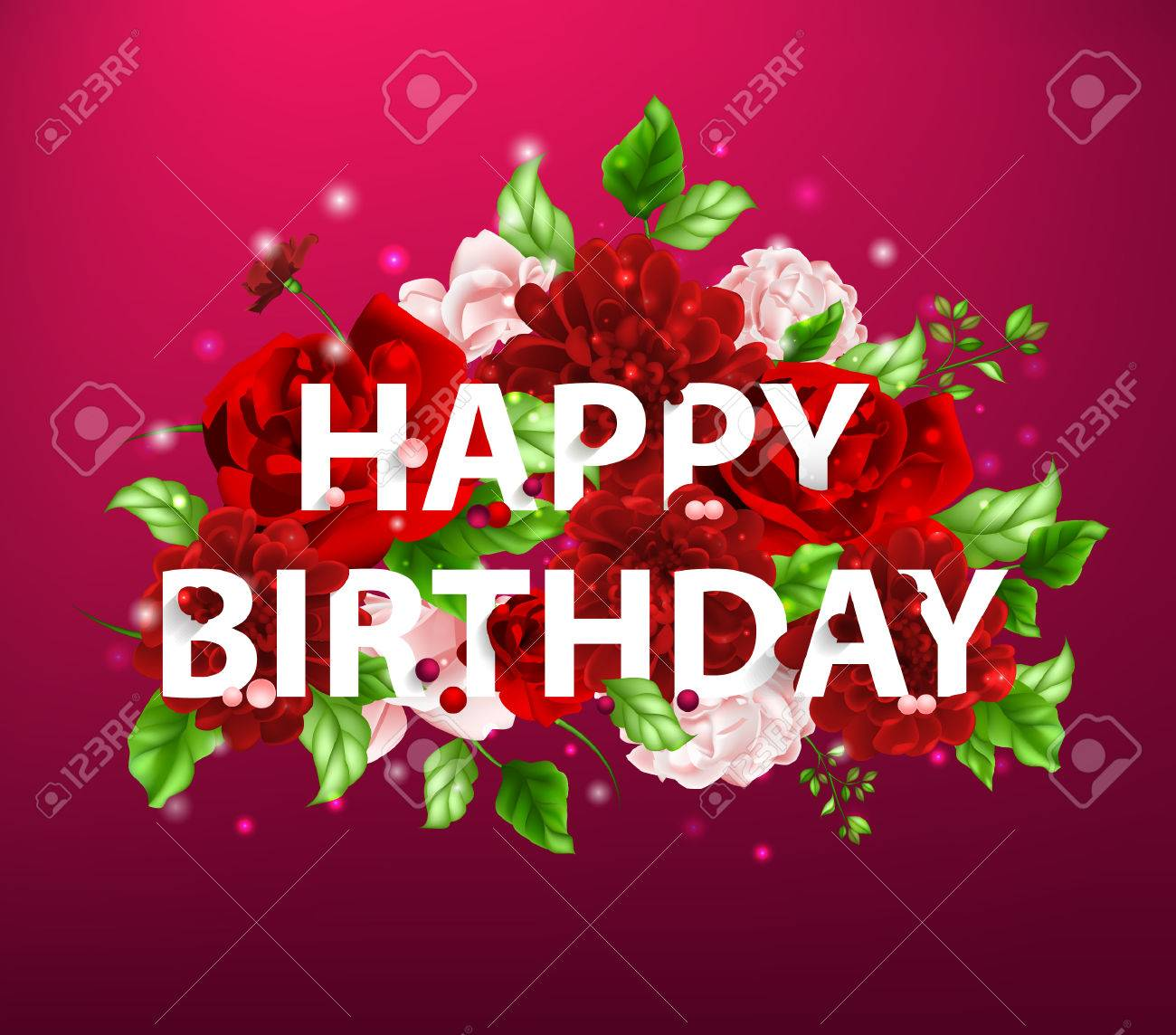 Stock Vector Illustration Of Flowers With Lettering Happy Birthday