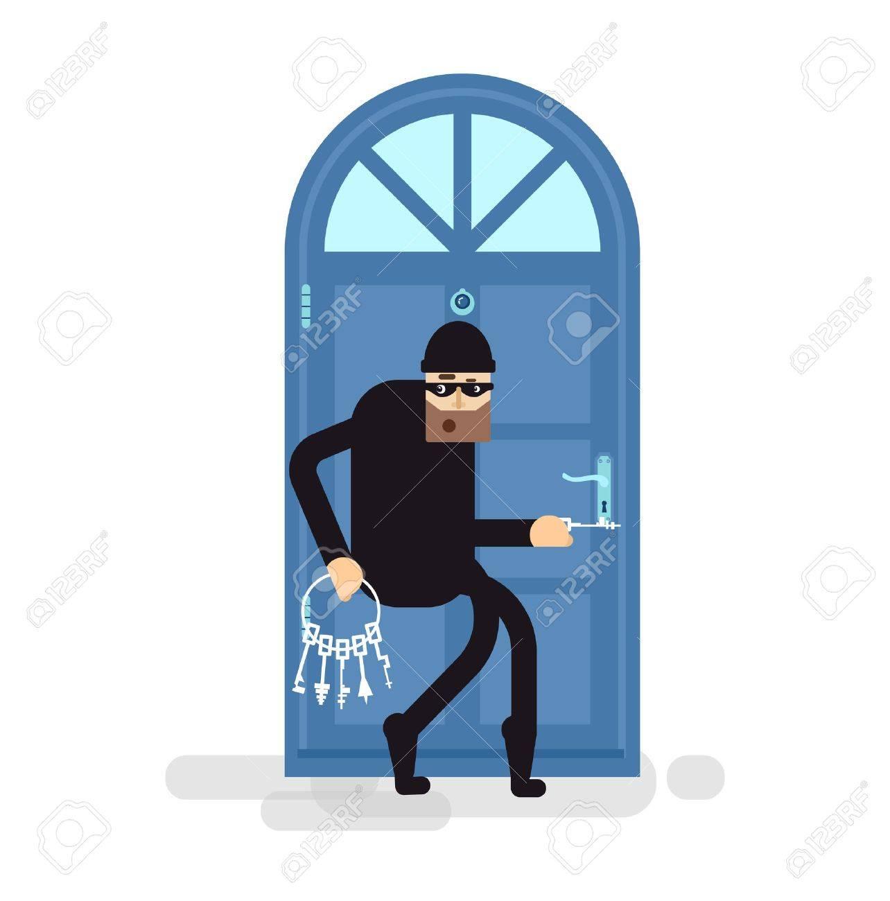 Stock Vector isolated illustration thief burglar sneaks to door attacker holding bunch of skeleton  sc 1 st  123RF.com & Stock Vector Isolated Illustration Thief Burglar Sneaks To Door ...