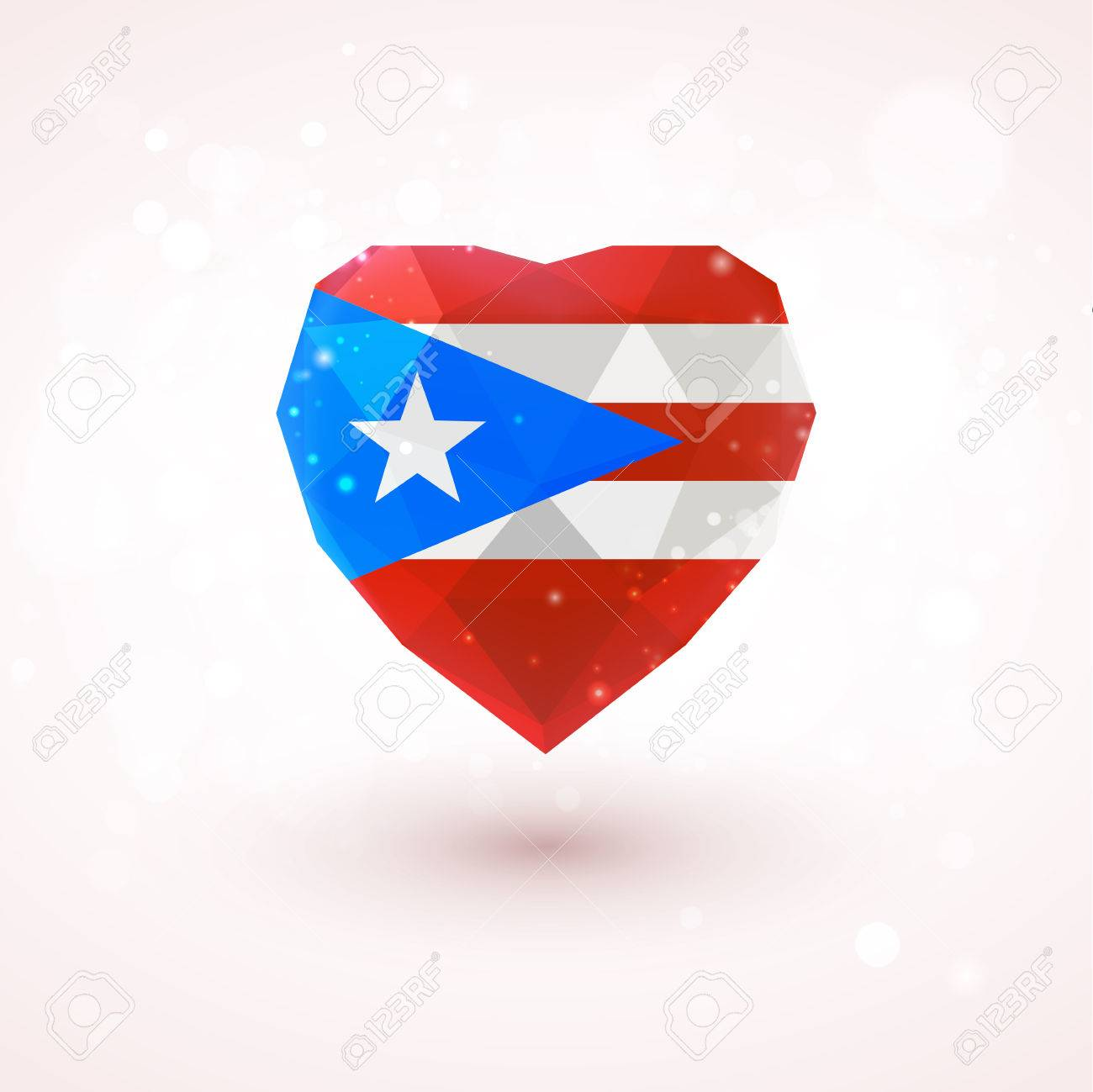 Flag of puerto rico in shape of diamond glass heart in flag of puerto rico in shape of diamond glass heart in triangulation style for info graphics biocorpaavc Image collections