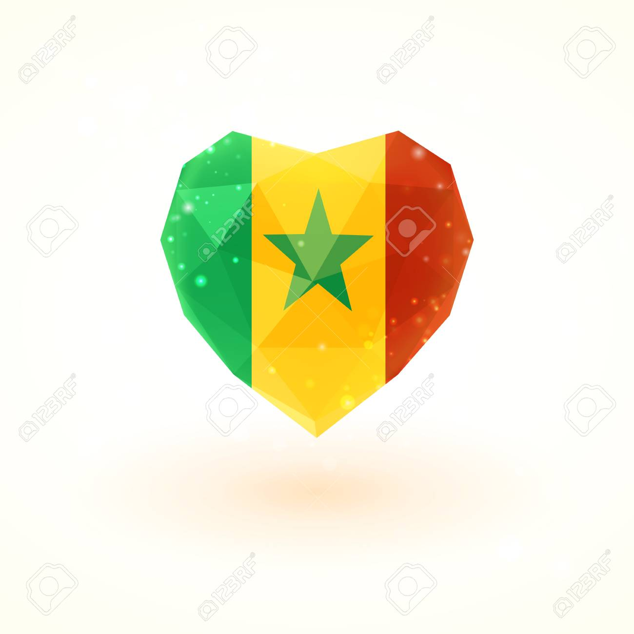 Flag of senegal in shape of diamond glass heart in triangulation flag of senegal in shape of diamond glass heart in triangulation style for info graphics m4hsunfo