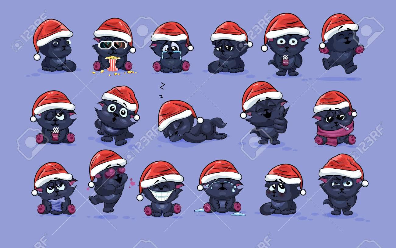 Illustrations Isolated Emoji Character Cartoon Black Cat Stickers