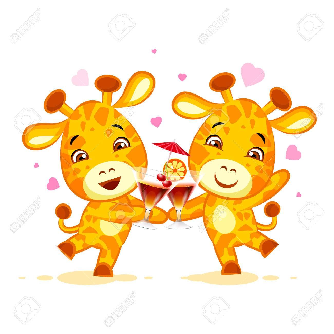 Emoji let have drink party character cartoon friends Giraffe