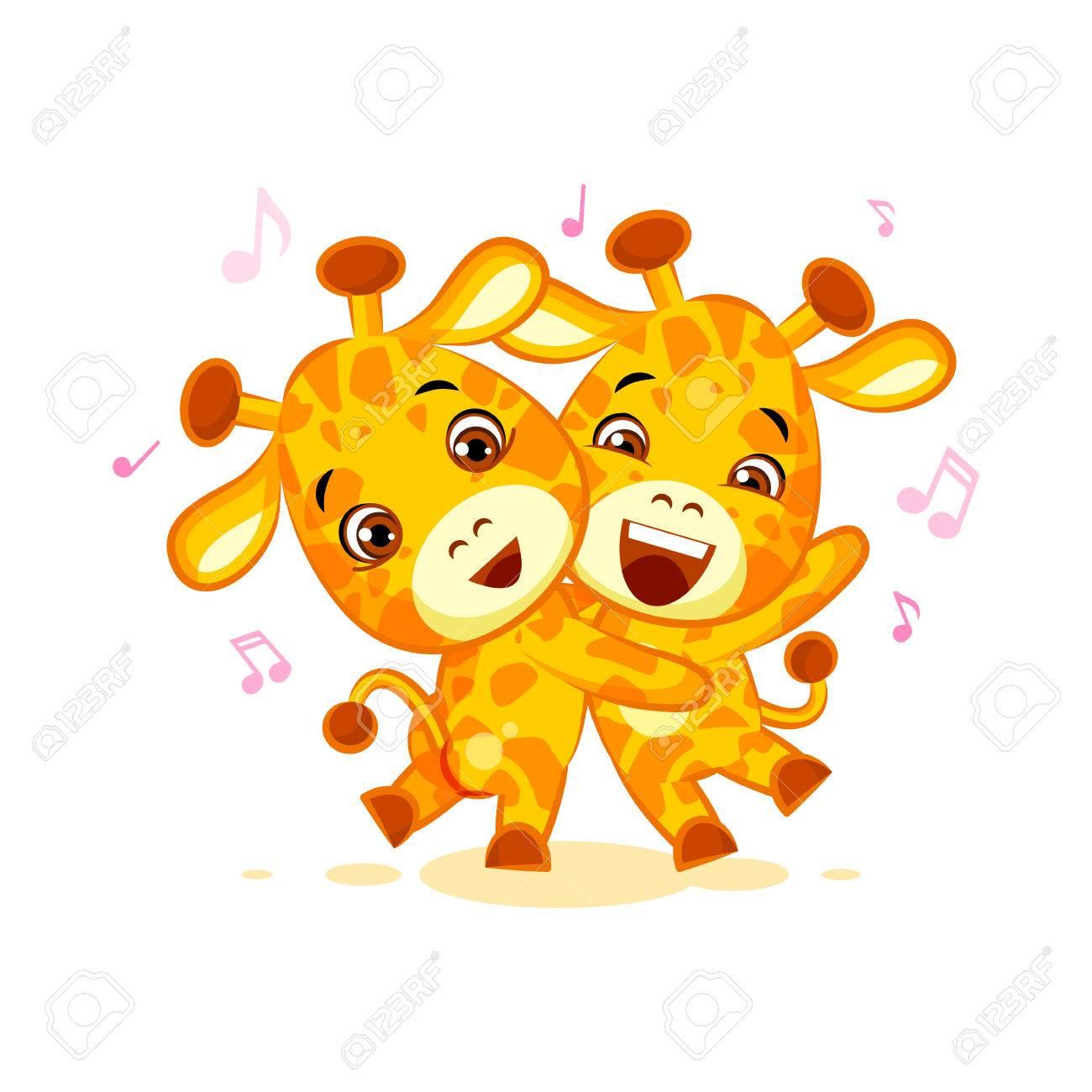 Emoji Ont Date De Laisser Danser La Musique Des Amis De Dessin Anime De Caractere Girafe Autocollant Des Emoticones Clip Art Libres De Droits Vecteurs Et Illustration Image 73492064