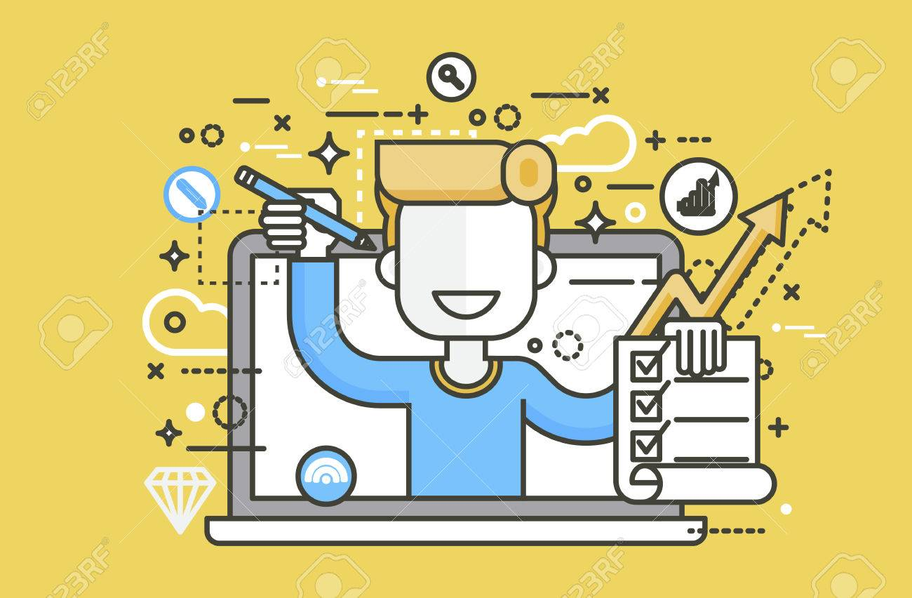 Vector Illustration Man In Laptop Notebook Offers Fill In ...