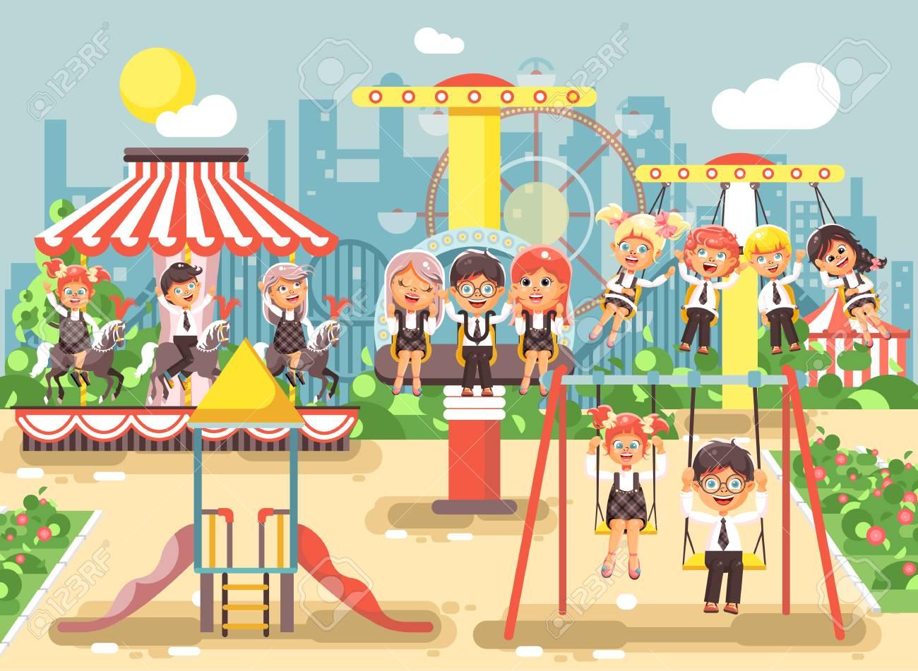 86099779d03 Ilustración De Vector De Stock De Personajes De Dibujos Animados Niños  Colegiales Colegialas Compañeros De Clase Descansando En El Parque De  Atracciones ...