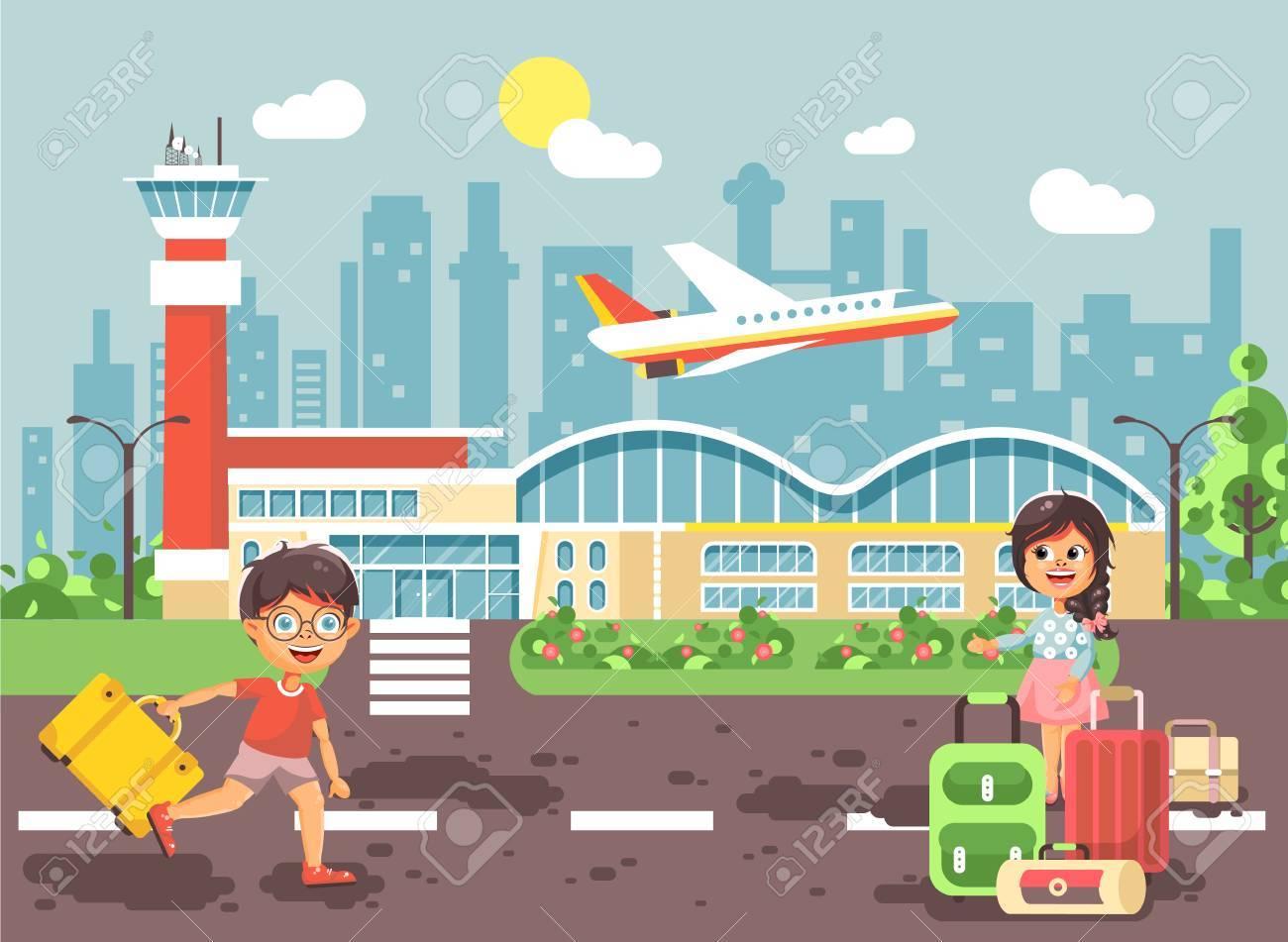 Caractère De Dessin Animé De Vector Illustration Fin Garçon Courir à La Petite Fille Brune Debout à L Aéroport Avion Au Départ Sac Valises En