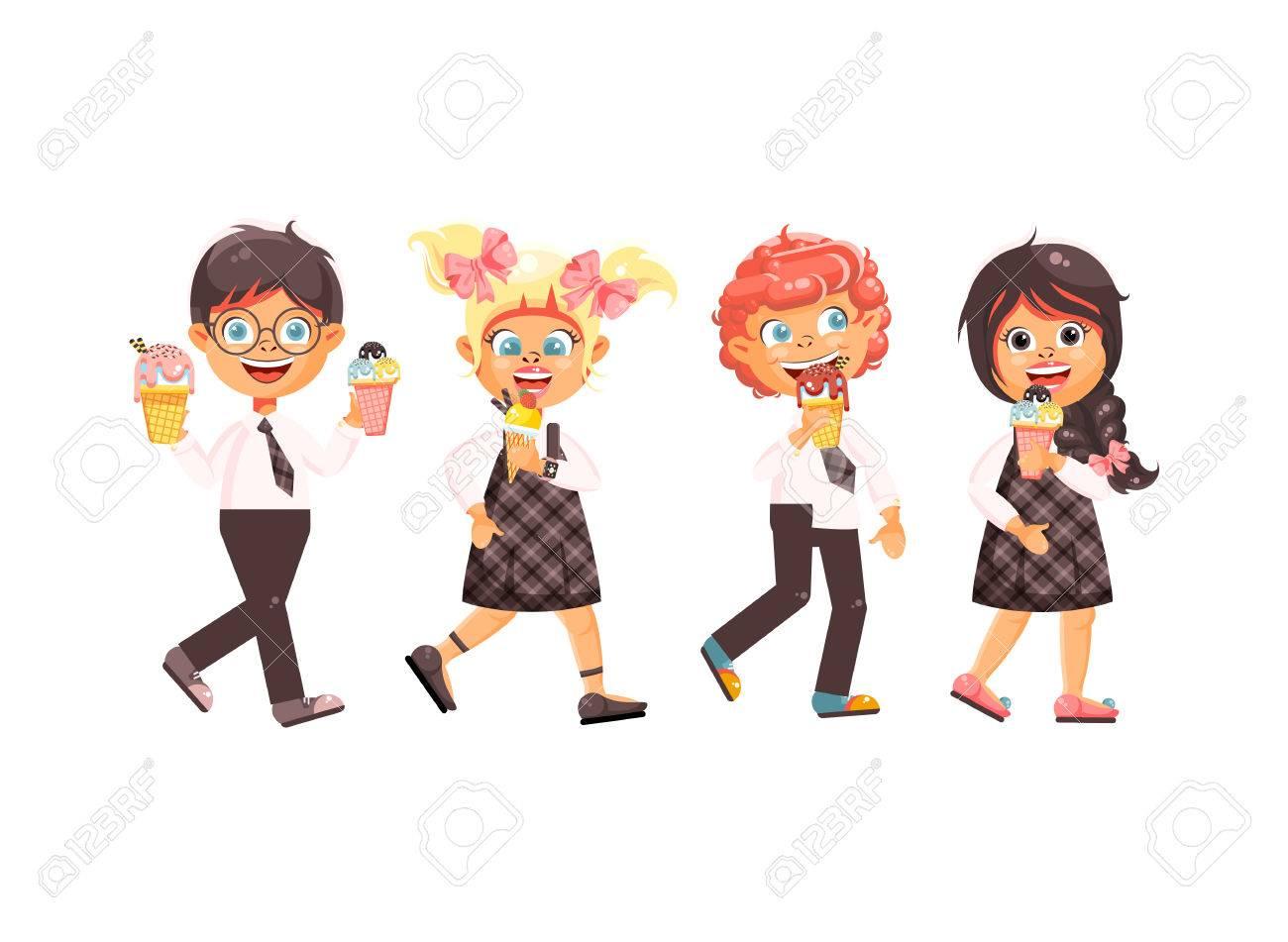 bd99e16f8cd Ilustración vectorial dibujos animados personajes aislados niños, alumnos,  colegiales, colegialas comen helado,