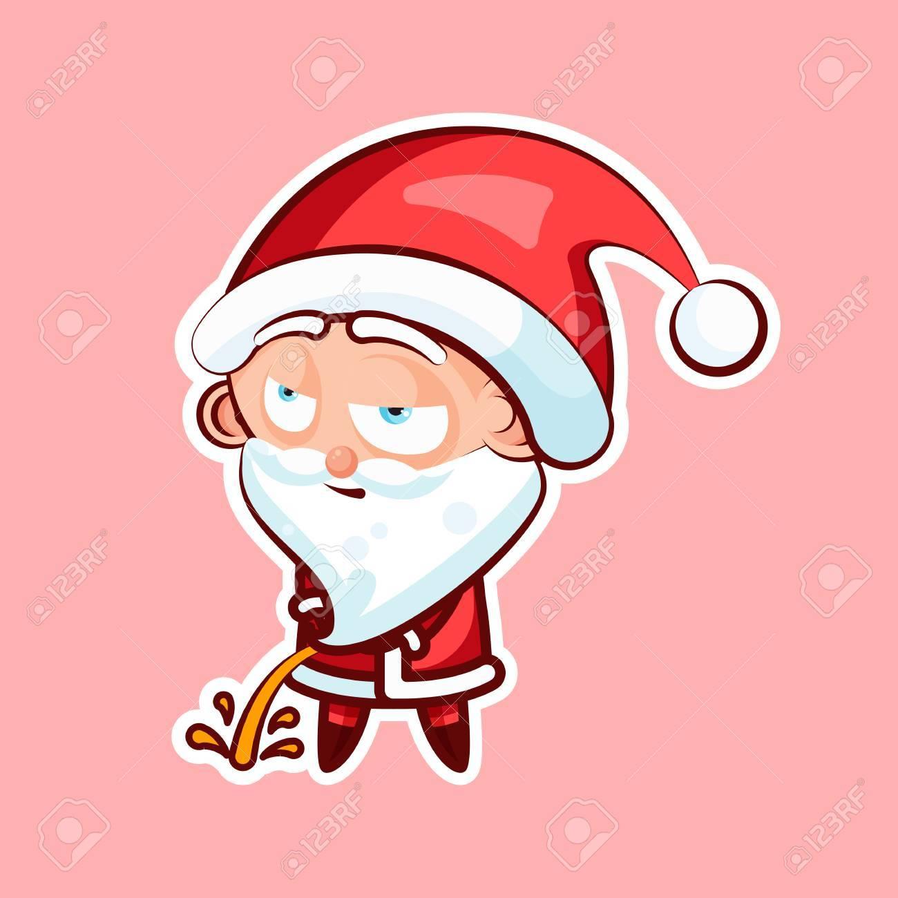 aufkleber emoji, gefühlpisse mit entspannter ansicht vector lokalisierte  illustration von süßen netten santa claus auf rosa hintergrund lizenzfrei  nutzbare vektorgrafiken, clip arts, illustrationen. image 85582623.  123rf