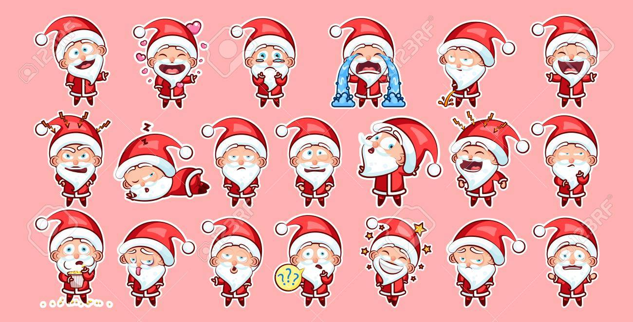 Set kit collection sticker emoji emoticon emotion vector isolated set kit collection sticker emoji emoticon emotion vector isolated illustration happy character sweet cute santa claus biocorpaavc Image collections