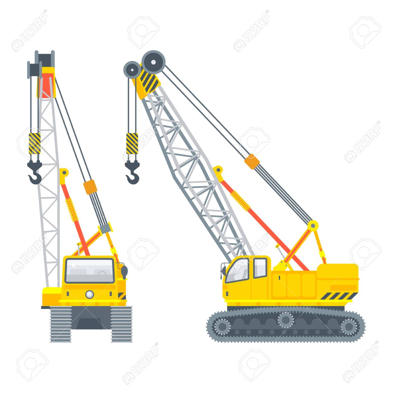 Stock vector isolated construction or assembly crawler crane