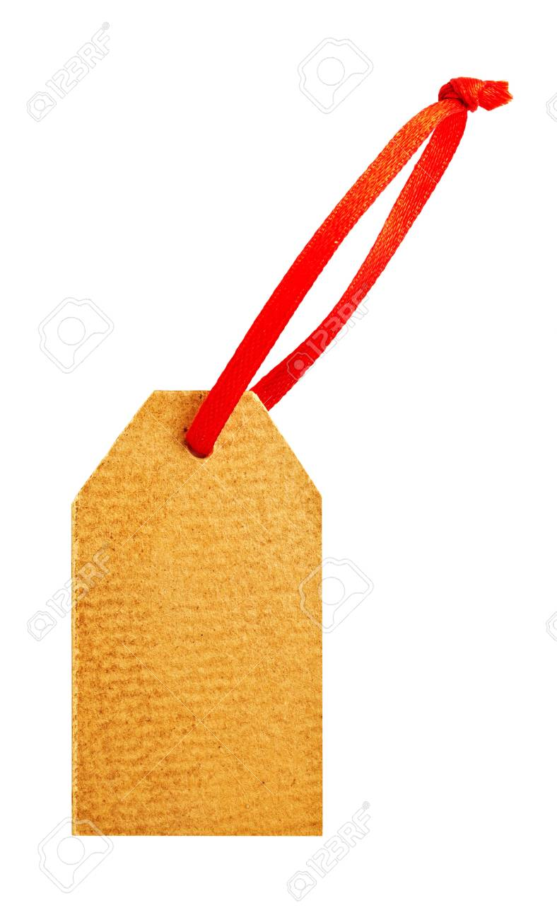 Old paper tag with red ribbon isolated on white Stock Photo - 16727576