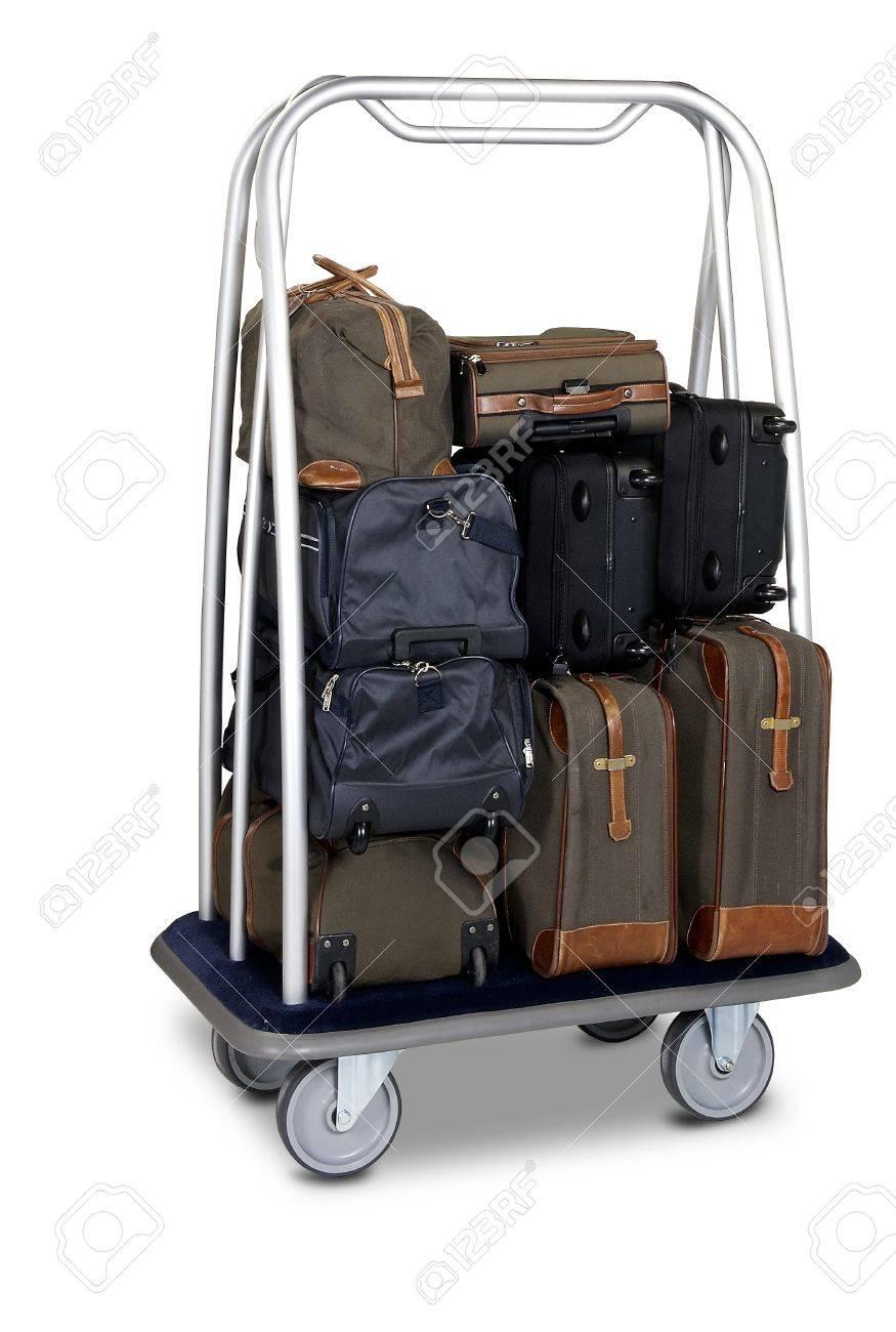 hotel baggage cart isolated on white background Stock Photo - 12414238