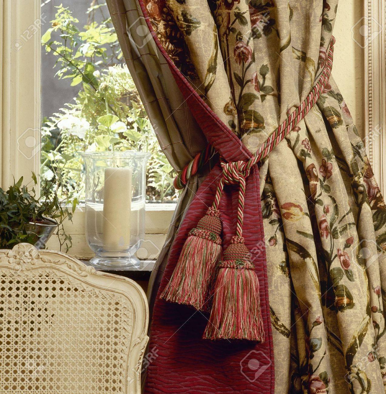 Elegant curtain and window Standard-Bild - 15847499