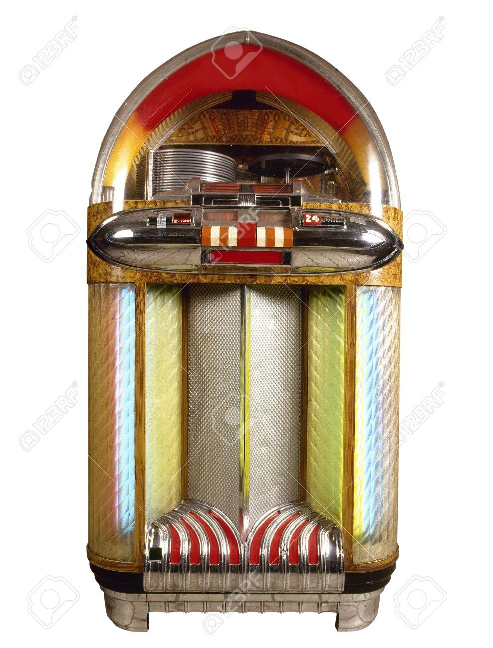 Old Jukebox Music Player Isolated On White Background Stock Photo