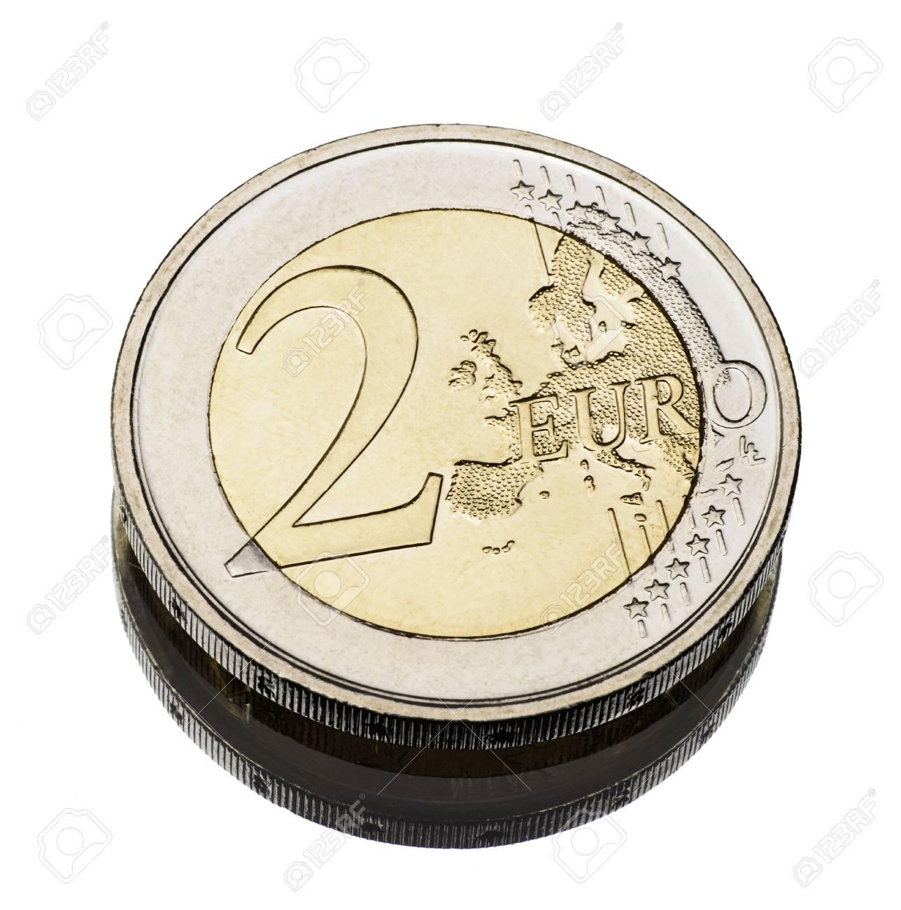 two euro coin worn on white - 17363995