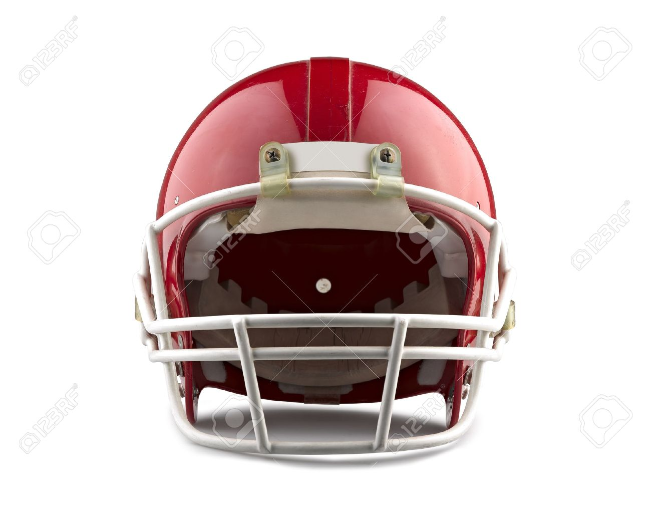 Red American football helmet isolated on a white background with detailed clipping path. Standard-Bild - 17388290