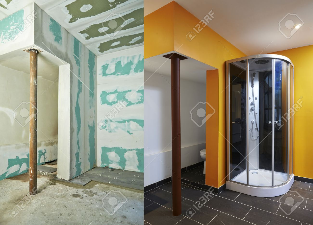 Construction of Drywall-Plasterboard bathroom Before and after Standard-Bild - 22877208