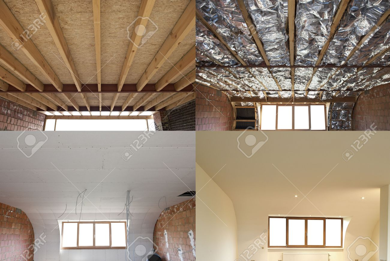 construction of the wooden frame of a roofFibreglass insulation installed in the sloping ceiling of a house Construction of Drywall-Plasterboard Before and after Standard-Bild - 25253497