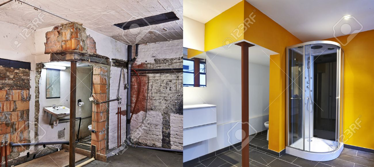 renovation of a bathroom before and after in horizontal format stock photo 26811877